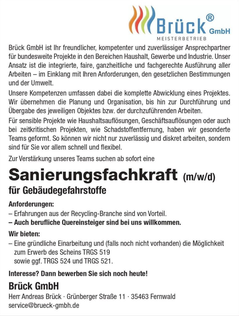 Schadstoffsanierung, Asbestbeseitigung Gießen durch Andreas Brück GmbH in Fernwald
